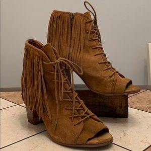 Steve Madden brown with long fringe booties